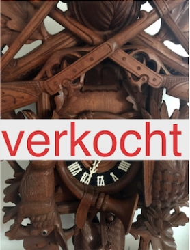 Grote houten jacht koekoeksklok met speeldoos